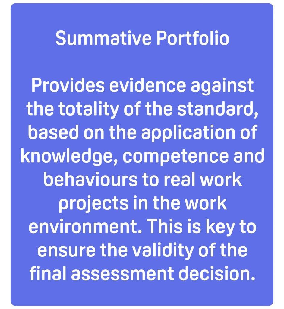 summative portfolio apprenticeship