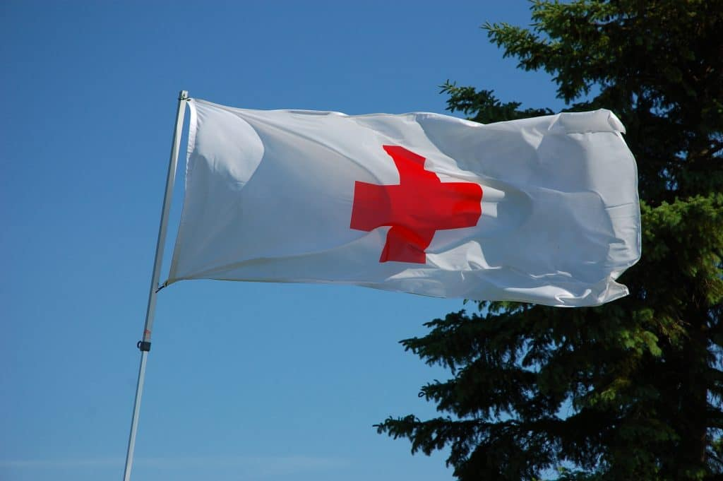 The red cross flag, a voluntary organisation